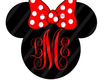 Disney Inspired Minnie Head Monogram Digital Download for iron-ons, heat transfer, T-Shirt, Onesies, YOU PRINT