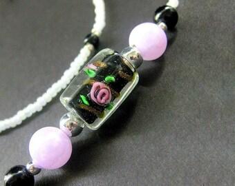 ID Lanyard. Black Glasses Lanyard. Teacher Lanyard. Lampwork Glass Eyeglass Necklace. Midnight Roses Beaded Lanyard. Handmade Pink Lanyard.