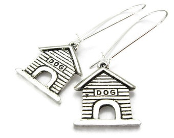 "DOGHOUSE EARRINGS, 925 Silver Kidney Wires, ""In The Doghouse"", K-9 Veterinarian, Dog Breeder & Groomer's Jewelry, Handmade Gift Under 20"