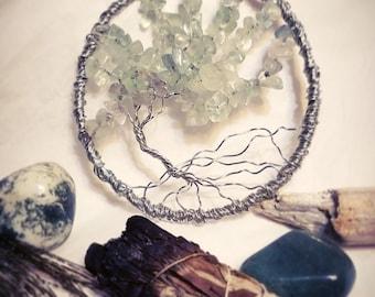 Green Fluorite Gemstone Wire Wrapped Tree of Life Wall Art, Insomnia, Focus, Reiki, Chakras, Healing, Energy Healing, Lightworker