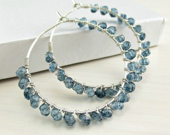 London Blue Topaz Hoop Earrings, Sterling Silver, Wire Wrapped Hoops, Blue Gemstone Hoop Earrings, December Birthstone