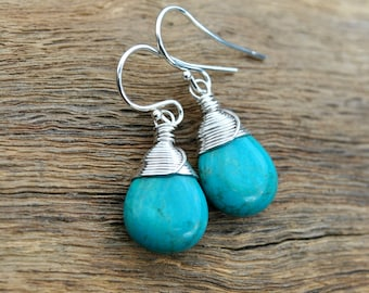 Turquoise Earrings, Sterling Silver, Oxidized, Real Turquoise, Genuine Turquoise Jewelry, Dangle Earrings, Drop Earrings, Gift For Women