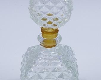Cut glass beveled-diamond pattern perfume bottle with stopper