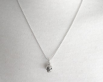 Sterling Silver Skull Necklace, Skull Pendant, Skull Jewelry, Skeleton Necklace, Charm Necklace, Sterling Silver Jewelry, Halloween Jewelry