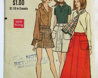 Vintage 1960s Vogue 7769 A-Line Skirt Mini Regular Maxi Length Sewing Pattern UNCUT Waist 29 / Hip 40