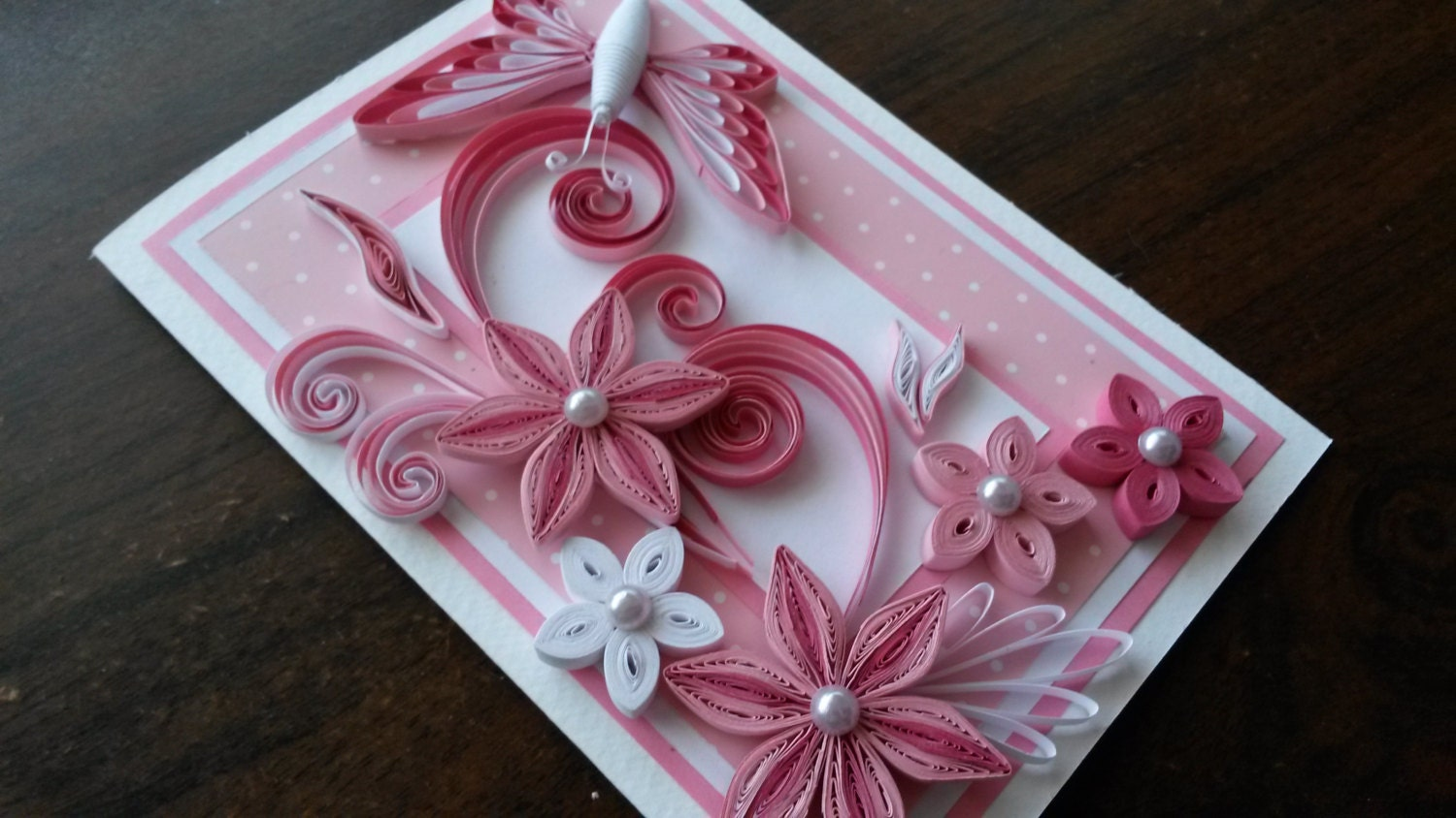 Beautiful handmade quilling card pink flowers design pink zoom kristyandbryce Image collections