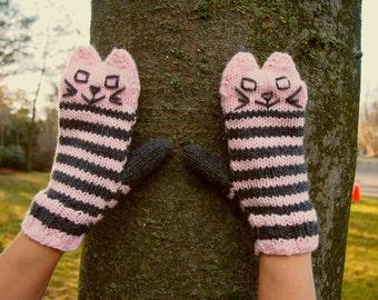 Knit Cat Mittens Pale Pink and Grey Striped Cat Mittens - Knit Winter Mittens for Cat Lover - Vegan Animal Mittens - Original Kitten Mittens