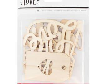 Crate Paper Hello Love Wood Veneer Shapes -- MSRP 4.00