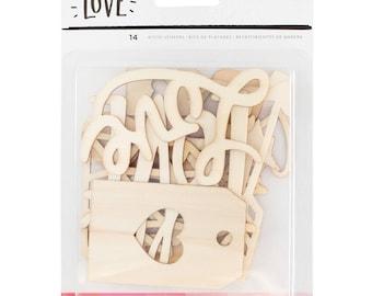 Crate Paper Hello Love Wood Veneer Shapes -- MSRP 4.00