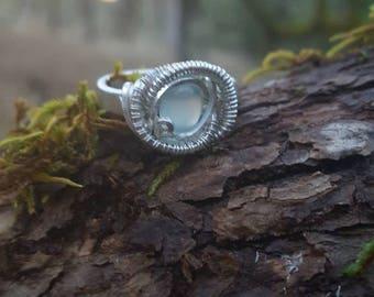 Green moonstone rose ring