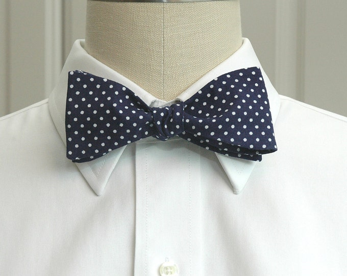 Men's Bow Tie, navy blue with white mini dots bow tie, Churchill bow tie, traditional bow tie, wedding bow tie, classic dark navy bow tie,