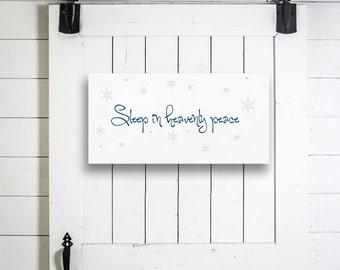 Christmas Wall Decor, Digital Download Wall Decor, Sleep in Heavenly Peace, Printable Sign, Printable Wall Art, Christmas Wall Art Print