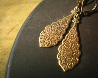 Myrtle Street Brass Drop Earrings