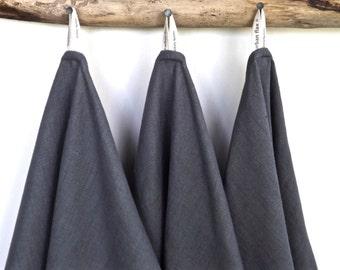 Dark Grey Linen Towels (3), Grey Kitchen Towels, Grey Tea Towels, Grey Hand Towels, Grey Bar Towels, Eco- friendly Towels, Charcoal Towelsl