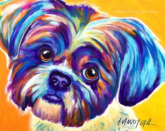 Shih Tzu, Pet Portrait, DawgArt, Dog Art, Pet Portrait Artist, Colorful Pet Portrait, Shih Tzu Art, Pet Portrait Painting, Art Prints