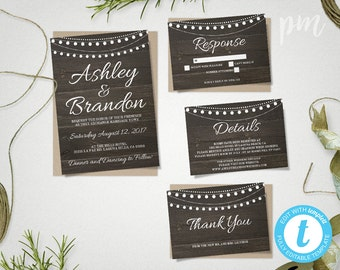 Rustic Wedding Invitation Template Suite with Hanging Lights, Rustic Wedding Invite, Printable Invitation, Rustic Wedding Country Chic