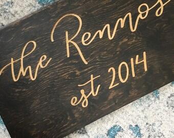 Last Name Wedding Sign | Established Sign | Newlyweds | Wedding Gift |