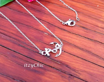 Anchor Pendant Necklace in Silver