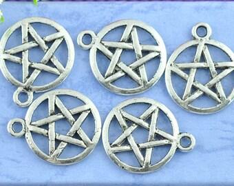 50 pcs. Antique Silver Pentagram Charms Pendants - 20 X 17mm