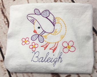 Easter Chick Vintage Sun Bonnet stitch short/long sleeve shirt with name Toddler and Youth size FREE SHIPPING