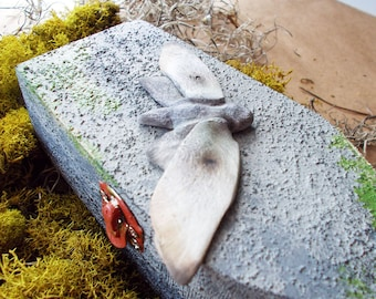 concrete painted coffin jewelry box - moth sculpture trinket box - gothic home decor - the R.I.P collection