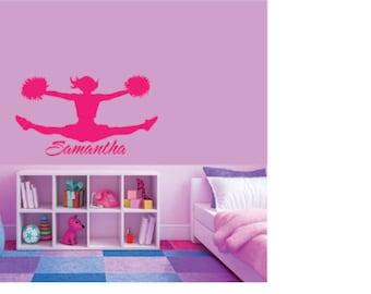 Vinyl Cheerleader Name Personalized, Cheerleader Wall Decal, Girls Name Decal, Girls Room Decal