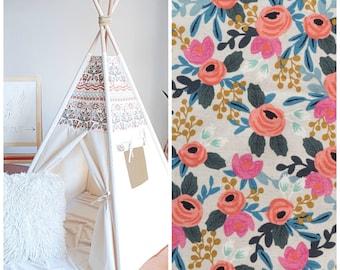 Rifle Paper Rosa Natural Canvas Teepee, Floral Teepee, Play Tent, Kids Teepee, Childrens Teepee, Girls Teepee, Boho Teepee