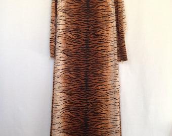 1970s tiger print maxi dress