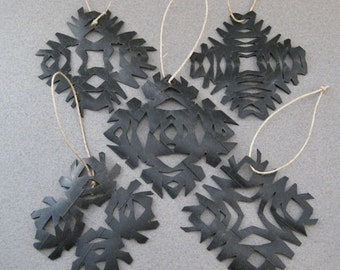 Snowflake Ornaments Eco Friendly bicycle inner tubes Christmas Set of 5 OOAK olyteam