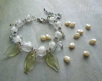 Bracelet lily of the valley, Jewelry lily of the valley, Flower bracelet, May-lily