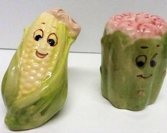 Vintage Ceramic Anthropomorphic Veggie Salt and Pepper Shakers