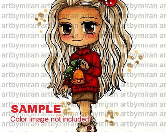 Digital Stamp - Bella (#330), Digi Stamp, Coloring page, Printable Line art for Card and Craft Supply