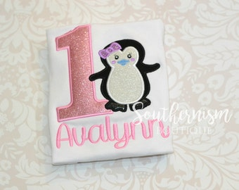 First Birthday Shirt, Girls Birthday, Penguin Birthday, Glitter Birthday, Girls Glitter, Girls Shirt, Personalized, Birthday Penguin, Shirt