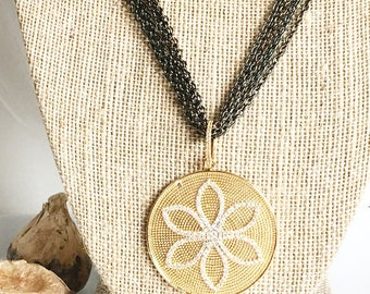 Gold Lotus Pendant on Gunmetal Chain