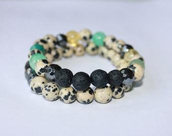 Dalmatian Jasper Diffuser Bracelets
