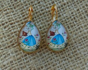 Mother and Baby Photo Glass Cabochon Teardrop Earrings