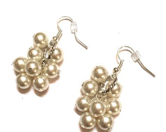 Earrings. Cluster. White colored Pearl Beads. 8 beads on Silver Ear Wires.