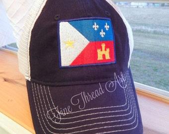 ADULT Acadian Flag Louisiana State Mesh Back Baseball Cap Hat Trucker Hat Unisex Louisiana Lafayette Cajun Acadiana State Love