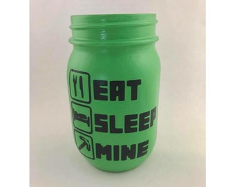 Video Game decor, video game party, party favor, video game favor, gamer party decor, mason jar, eat sleep mine, gamer decor, mine craft