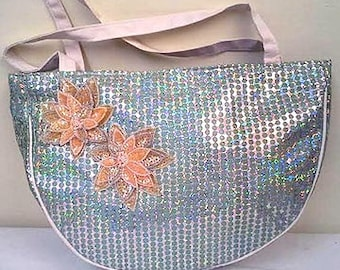 Sequins & Beaded Spring Flowers Shoulder Purse/Carry All     Brand New