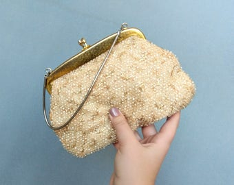 lumured / 1950s gold and cream corde beaded evening bag