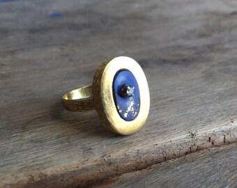 Vintage lapis and diamond ring
