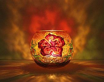 Hawaiian Glass Candle Holder / Hibiscus Candleholder / Votive Candle Holder / Tealight Candle Holder / Floral / Hawaiian Gift/Wedding Decor