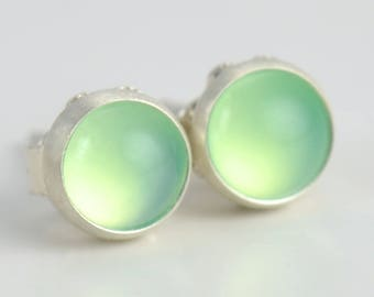 chrysoprase chalcedony 5mm sterling silver stud earrings pair