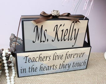 End of Year Teacher Appreciation Gift, Unique Teacher Gift,Personalised Teachers Wood Blocks, Classroom Decor, Christmas Gift for Teacher