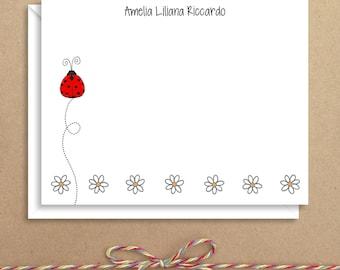 Flat Note Cards - Ladybug Daisy Flat Notes - Ladybug Note Cards - Flat Thank You Cards- Illustrated Note Cards