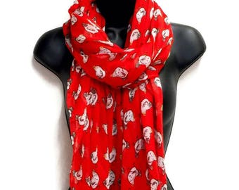 Chickens Pattern Red Scarf,Spring Summer Scarf,Autumn Scarf,Gifts For Women,Gifts For Her,Printed Scarf,Christmas Gifts