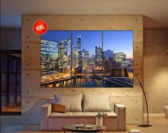 chicago skyline canvas  skyline chicago skyline canvas art chicago skyline wall decoration chicago skyline large canvas