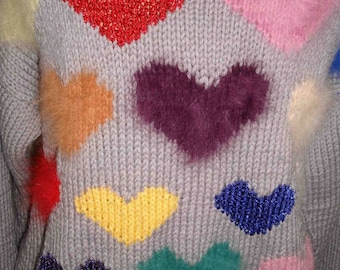 Pre Holiday Sale Vintage Novelty Heart Sweater-80s Colorful Love-Knit Valentine-Stella Ranae
