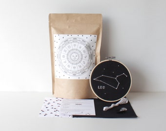 Leo Embroidery Pack With Easy to Follow Instructions & Supplies Stylish Embroidery Astrology Craft Zodiac Set Handcrafted Gift Star Sign